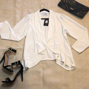 Fashion nova plus size White draped blazer